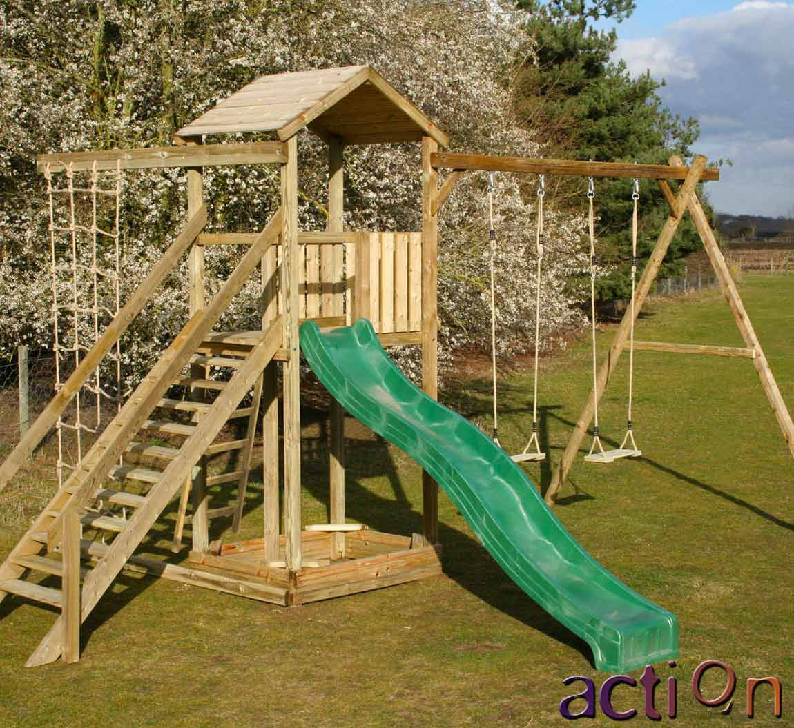 Action Monmouth Climbing Frame with swing arm and commando net ...
