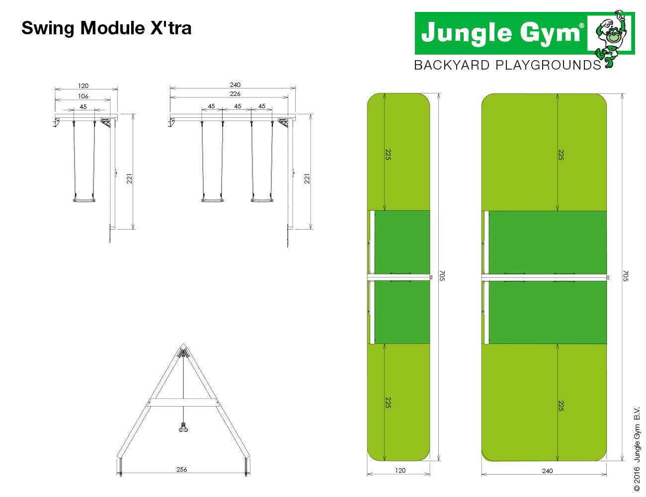 jungle gym double swing arm garden toy store. Black Bedroom Furniture Sets. Home Design Ideas