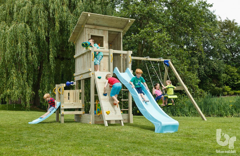 Blue Rabbit Beach Hut Tower with extra Platform, Swing Arm, 2 Slides, Swing Seats and Climbing Wall