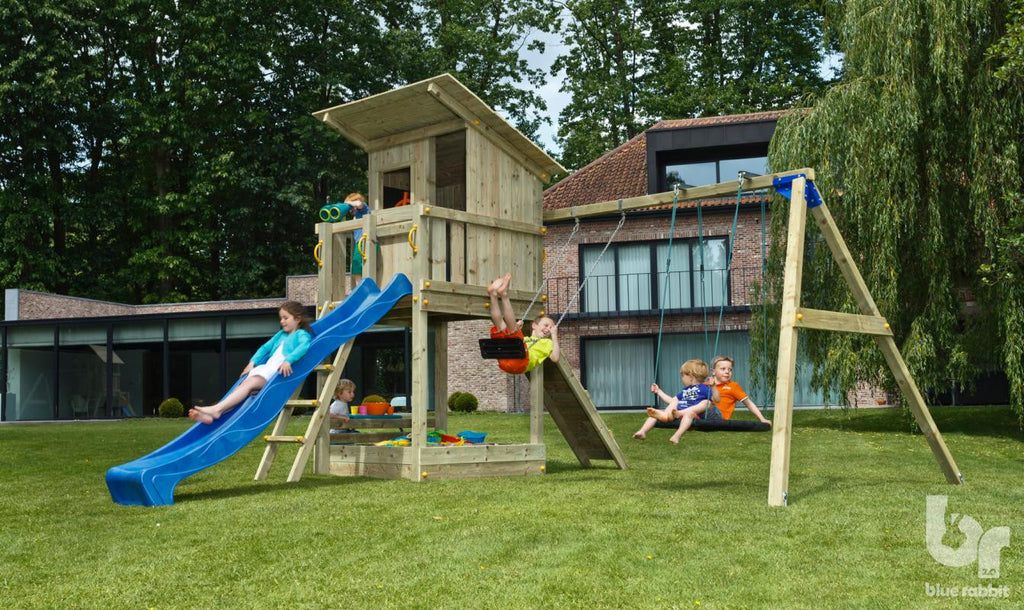 Blue Rabbit Beach Hut Tower with Swing Arm, Slide and Swing Seats