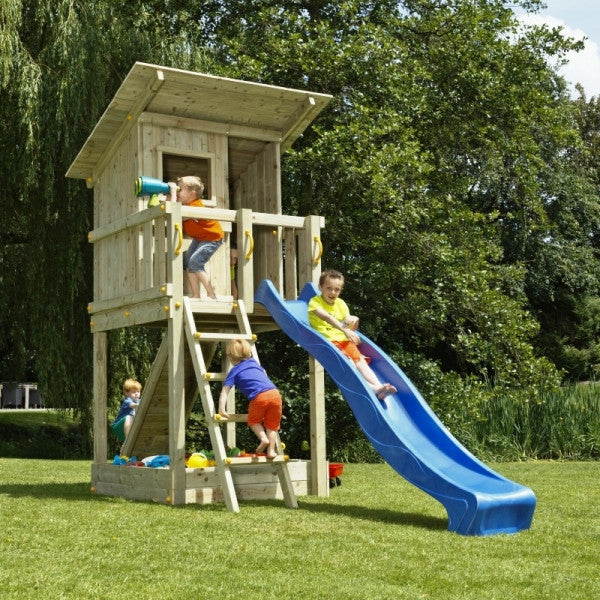 Blue Rabbit Beach Hut Climbing Frame Tower and Slide (1.5 or 1.2m platform height)