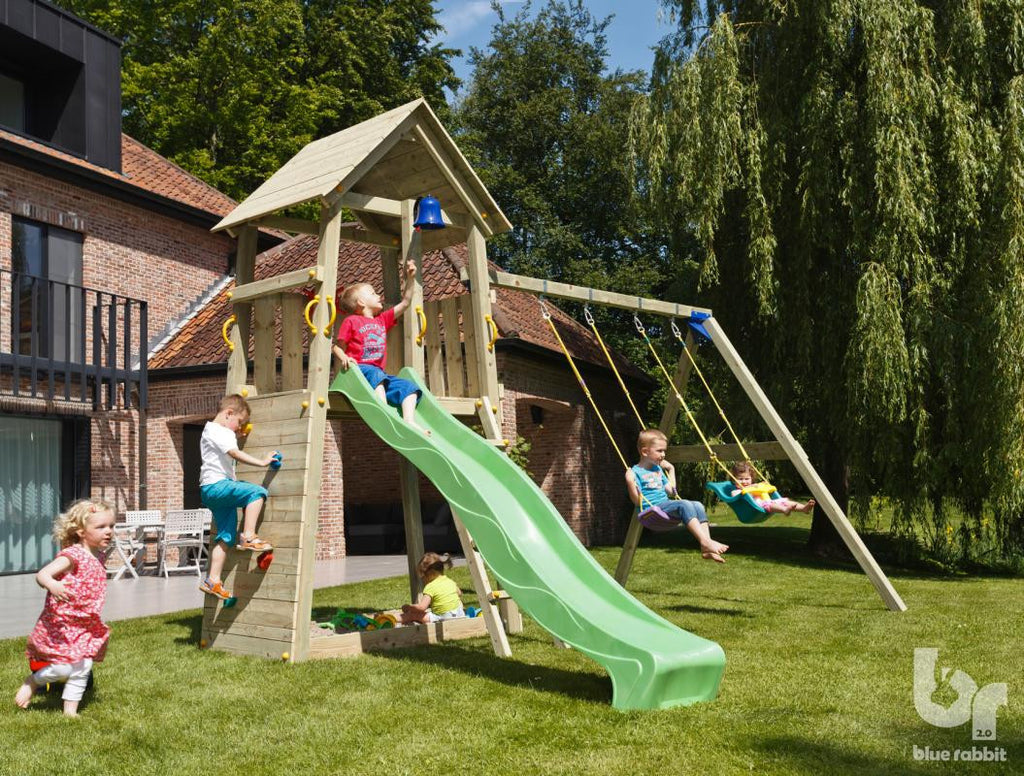 Blue Rabbit Belvedere Climbing Frame with Swing Arm, Slide, Swing Seats and Climbing Wall