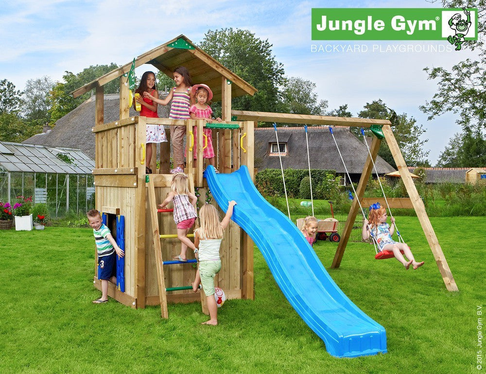 Jungle Gym Chalet Climbing Frame with Swing Arm, Slide, Swing Seats ...