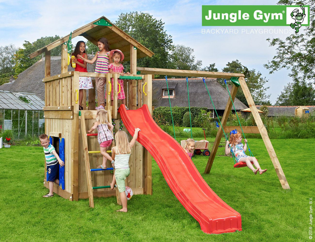 jungle gym chalet climbing frame with swing arm slide swing seats an garden toy store. Black Bedroom Furniture Sets. Home Design Ideas