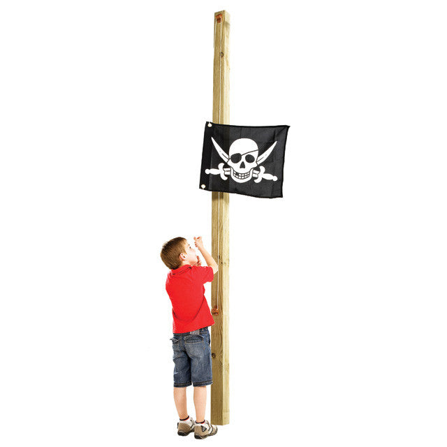 Flag with hoisting system for attachment to climbing frames, playhouses, etc