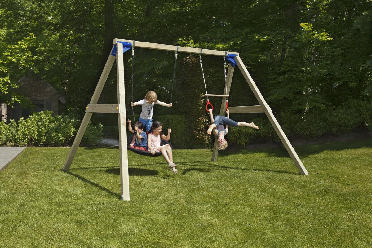 Blue Rabbit Freestanding Wooden Swings Set (2.4m Beam)