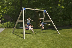 Blue Rabbit Freestanding Wooden Swing Set (2.7m Beam) with Nest Swing