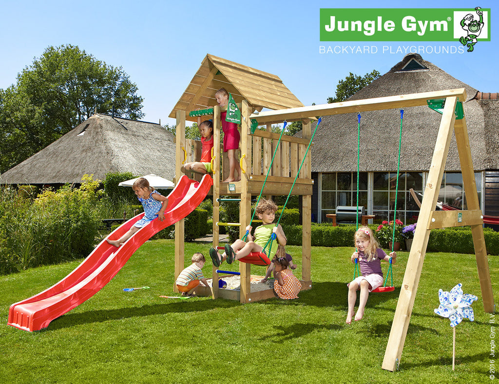 Jungle Gym Cabin Tower (1.45m platform height) with double swing