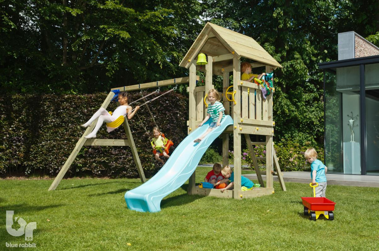 Blue Rabbit Kiosk Tower with Slide, Swing Arm and 2 Swing Seats