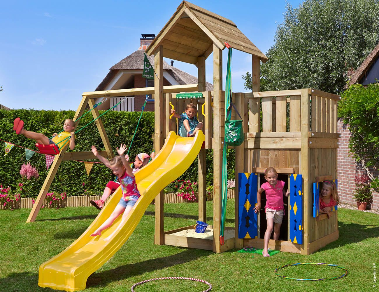 Jungle Gym Palace Mansion with Swing Arm and playhouse