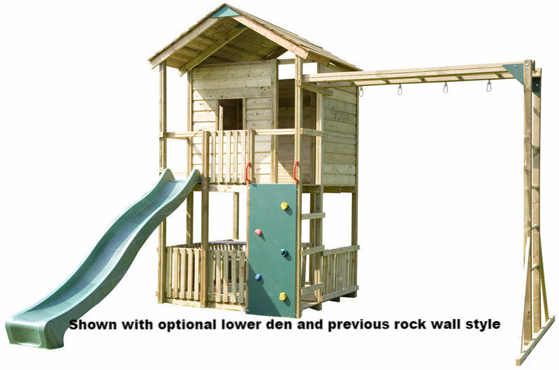 Action Gate Lodge Wooden Climbing Frame With Monkey Bars Garden