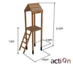 Actional Arundel 1.5m Wooden Tower with optional Slide