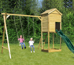 Action Monmouth Lodge Wooden Climbing Frame + Swing Arm and Swing Seats