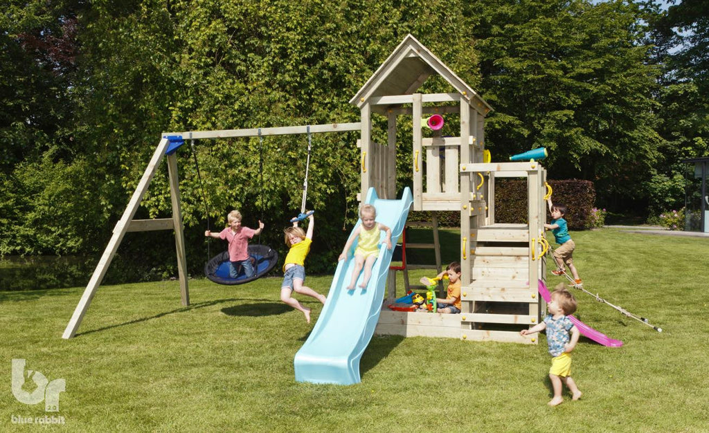 Blue Rabbit Penthouse Tower, 3 platforms, Swing Arm, 2 Slides and Swing Seats