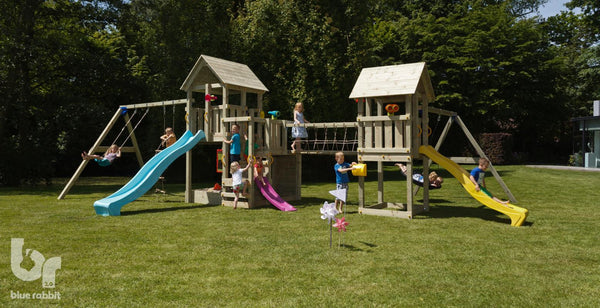 Blue rabbit penthouse and kiosk towers with 2 swing arms for Wooden swing set with bridge