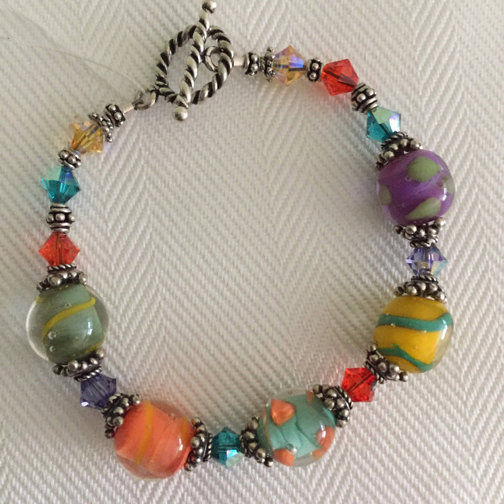 bracelet multi color glass faceted bead stretch pin
