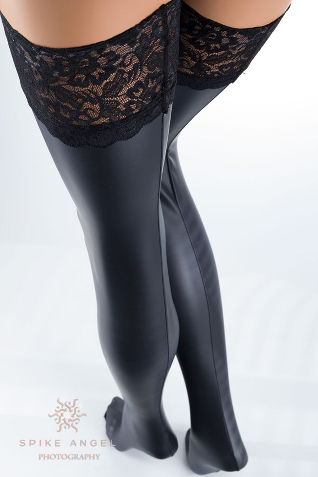 LUXURY Black Thigh High Wide Lace Top Stockings Hold Ups Sheer 20 den Semi Matte