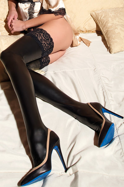 Allen Leather Look Thigh High Hold Ups