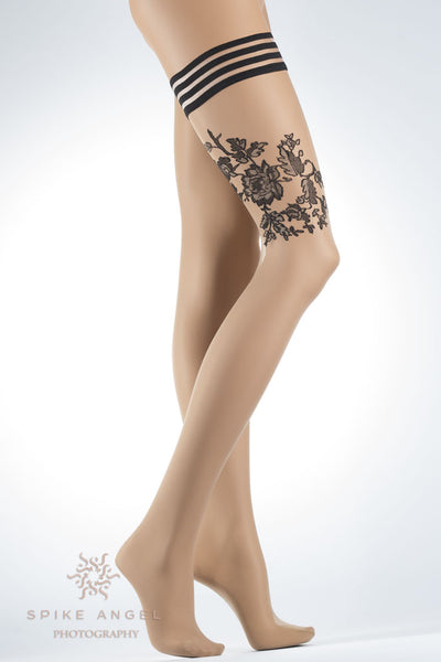 Circe Contrast Floral Hold Up Thigh Highs