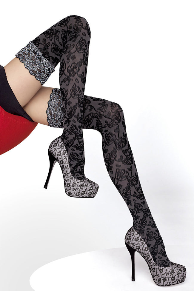 Fiore Azalia Patterned Thigh Highs - Spike Angel - 1