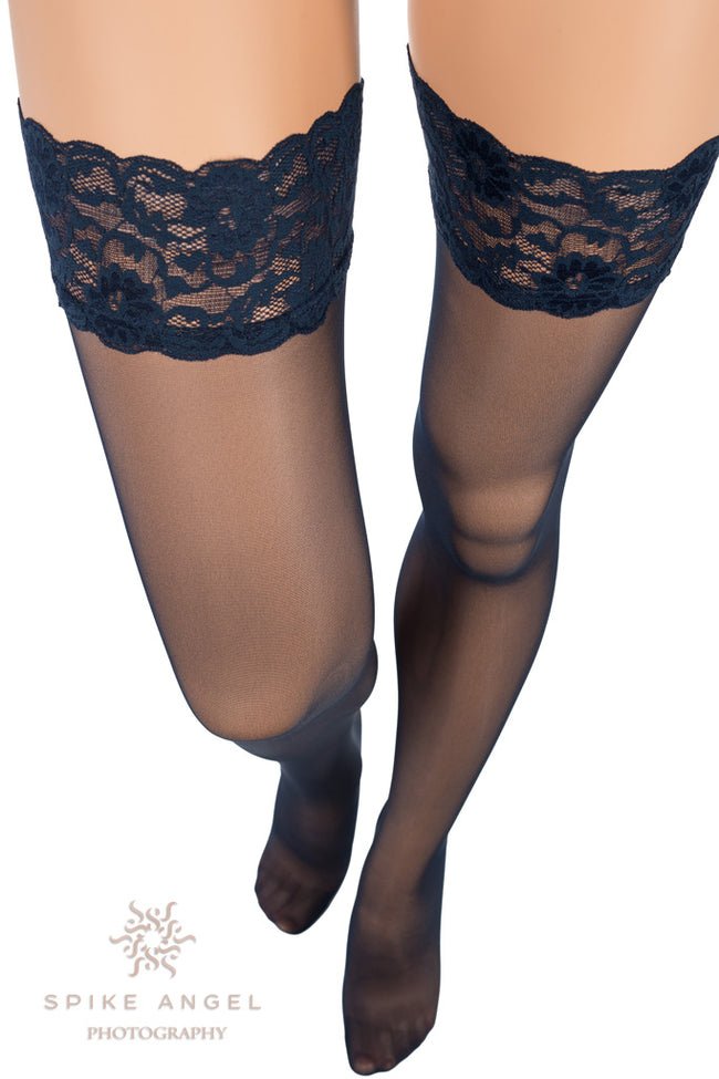 Image 20 Floral Lace Band Thigh High