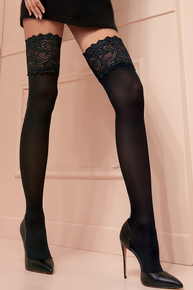 Lucretia 70 Den Lace Top Thigh Highs