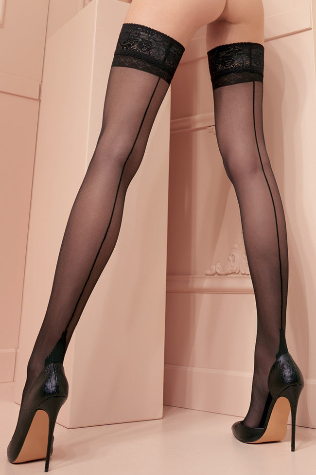 Pennac 20 Den Back Seamed Thigh Highs