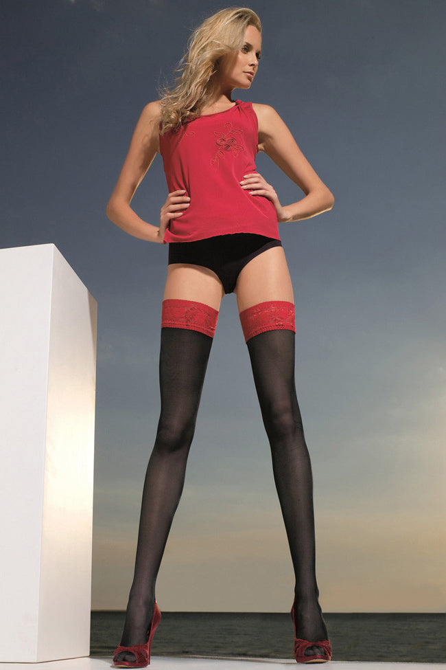 Trasparenze Rosy Contrast Lace Top Thigh Highs - Spike Angel - 1