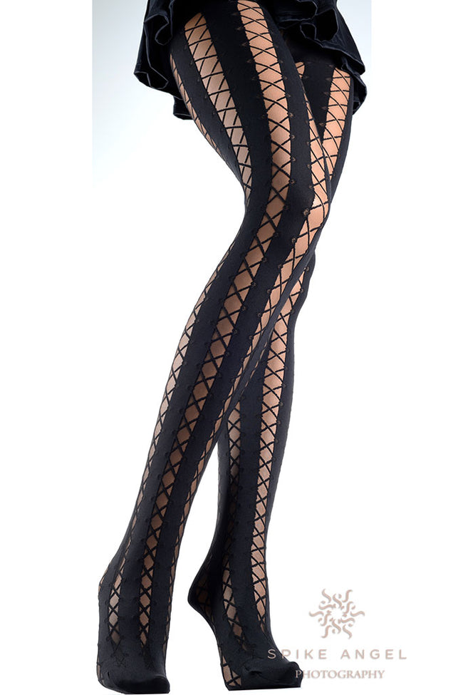 Ipparco Lace Up Patterned Tights