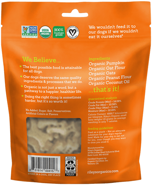 Pumpkin & Coconut Small Bone Organic Dog Treat - Riley's Organics