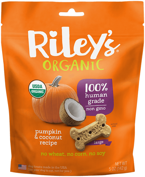 Pumpkin & Coconut Large Bone Organic Dog Treat - Riley's Organics