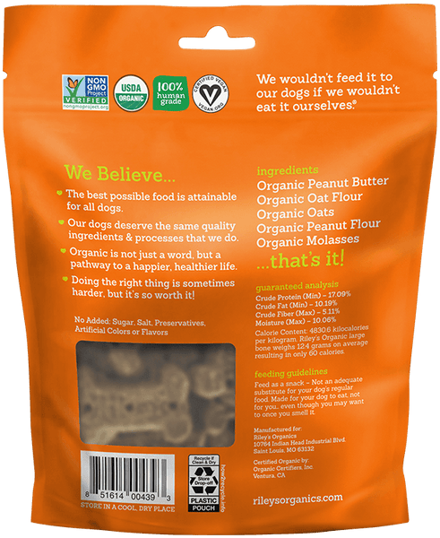 Peanut Butter & Molasses Large Bone Organic Dog Treat - Riley's Organics