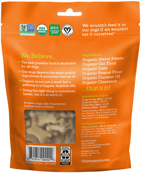 Sweet Potato Small Bone Organic Dog Treat - Riley's Organics