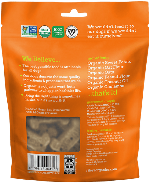 Sweet Potato Human Grade Organic Dog Treats (4 Pack Small or Large Bone)
