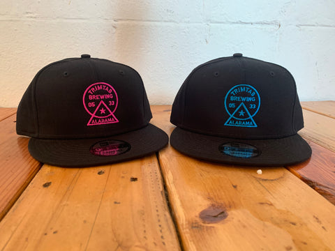 Flat Bill Snapback Trimtab Hat (Black)