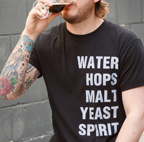 Water Hops Malt Yeast Spirit - Next Level 100% Cotton Black Tee