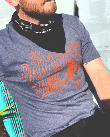 It's Paradise at Trimtab Tee - Next Level Tri-Blend Indigo Blue, Heather White, Black (includes shipping)