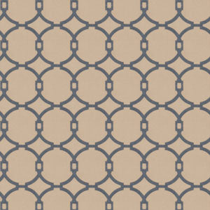 Embroidered Fretwork/Circles Cobalt/Blue 03186