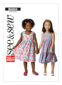 Children's Gathered-Waist Dresses B6004