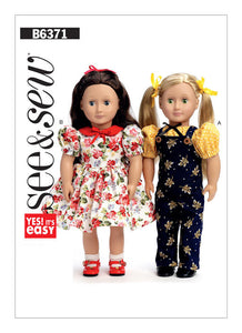 "Puff Sleeve Top and Dress, Overalls, and Petticoat for 18"" Doll B6371"
