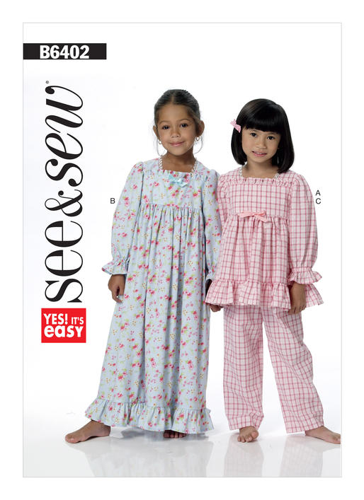 Girls' Square-Neck Top and Gown, and Pull-On Pants B6402