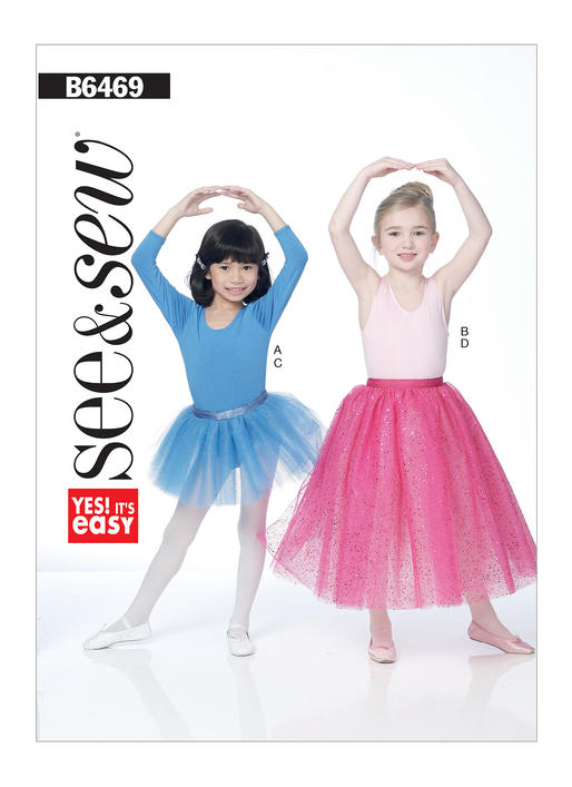 Girls' Leotards with Sleeve and Skirt Variations B6469