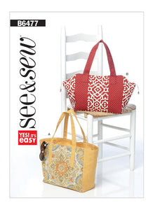 Lined Tote Bags with Zipper and Contrast Variations B6477