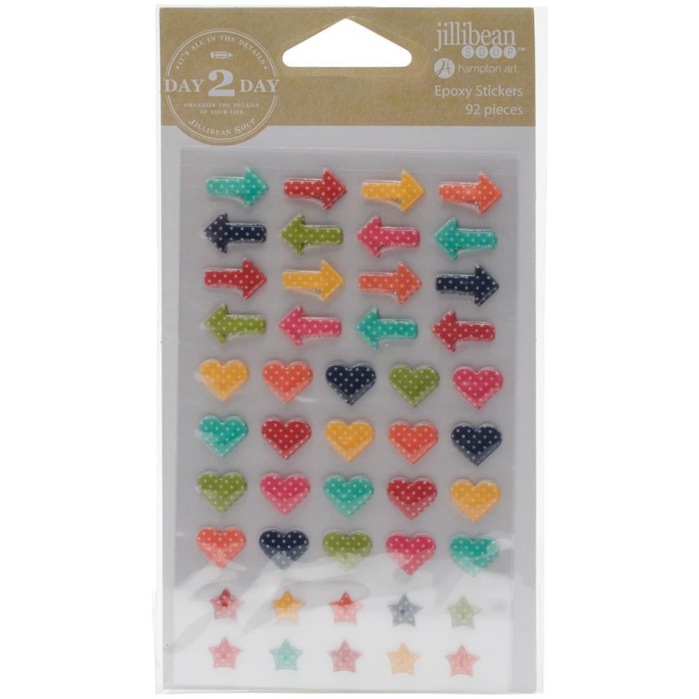 Day 2 Day Planner Epoxy Stickers - Arrows, Heart & Stars