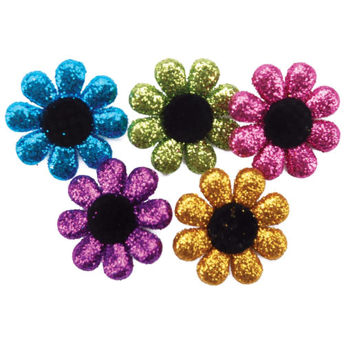 Dress It Up Glitter Fun Flowers Buttons