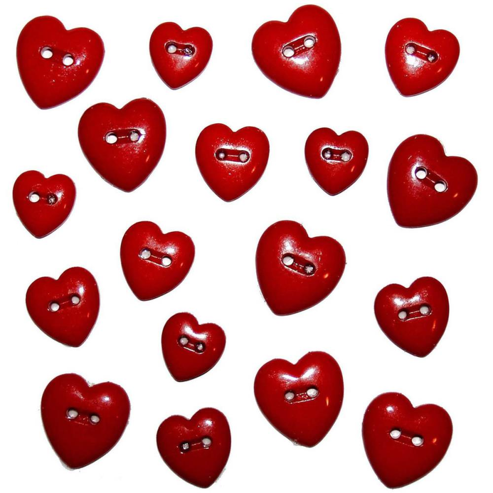 Dress It Up Red Hearts Buttons
