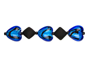 Jewelry Basics Strung Beads - Black Acrylic Diamonds/Blue Glass Hearts