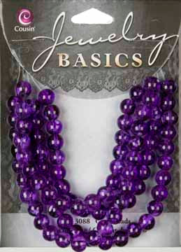 Jewelry Basics Strung Glass Beads - Purple Round 6 mm