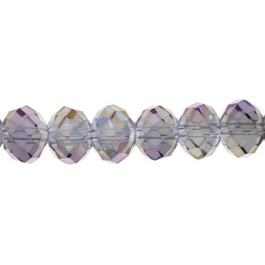 Jewelry Basics Strung Glass Beads - Rondelle Faceted Mirror 10 mm - Purple/Gold