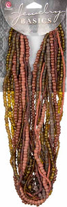 Jewelry Basics Strung Glass Seed Beads  - Brown Mix 3.18 oz